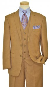 Bertolini Taupe Self Design Wool & Silk Blend Vested Suit B78000