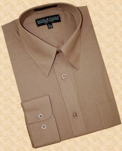 Daniel Ellissa Solid Taupe Cotton Blend Dress Shirt With Convertible Cuffs DS3001