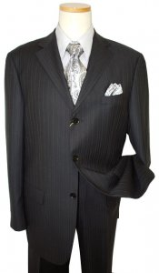 Mantoni Black Shadow Stripes Super 140's 100% Virgin Wool Suit 66013