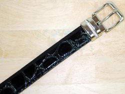 Serpi Glossy Black Alligator Print Genuine Leather Belt GB-114