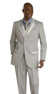 E. J. Samuel Mint / Cream Striped Suit M2631