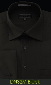 Avanti Uomo Solid Black Cotton Blend Dress Shirt With French Cuffs DN32M
