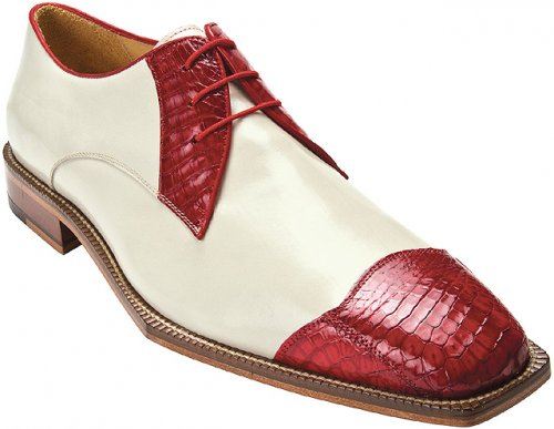 "Belvedere ""Fano"" Red / Cream Genuine Crocodile and Calf Shoes"