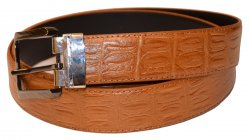 Serpi Cognac Alligator Print Genuine Leather Wide Width Belt FH/35