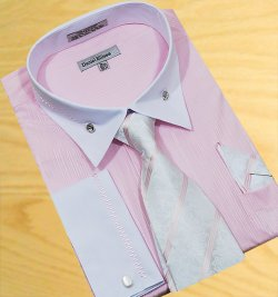 Daniel Ellissa Pink/White With Embroidered Design Shirt/Tie/Hanky Set DS3736P2