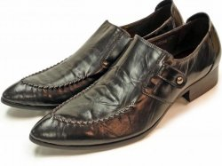 Encore By Fiesso Black With Strap Buckle Genuine Leather Loafer Shoes FI6502