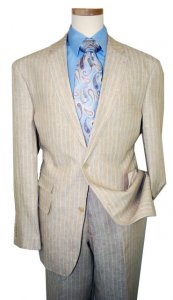 Inserch 100% Linen Tan With Sky Blue/ White Pinstripes Suit 660608