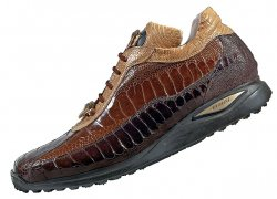 "Mauri ""Desert"" 8727 Dark Brown / Kango Tabac / Light Caramel Genuine All-Over Ostrich Sneakers With Gold Mauri Alligator Head"