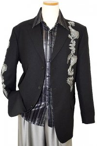 Pronti Black With Silver Grey Embroidery With Silver Metal Studs Blazer B3161