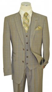 Extrema Cream / Navy / Cognac / Royal Houndstooth Super 150's Wool Vested Wide Leg Suit 28212-2