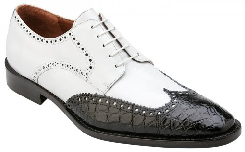 "Belvedere ""Urbano"" Black / White Genuine Alligator / Soft Italian Calf Wingtip Lace-up Shoes 3B0."