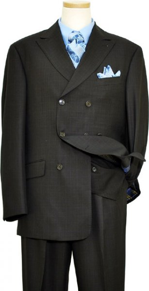 Extrema Black With Sky Blue / Pink Windowpanes Double Breasted Super 120's Wool Vested Suit S3676/30