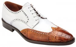 "Belvedere ""Urbano"" Antique Almond / White Genuine Alligator / Soft Italian Calf Wingtip Lace-up Shoes 3B0."