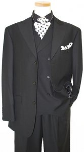 P2 By Tayion Collection Solid Black With Black Hand-Pick Stitching Super 120'S Vested Suit 2190