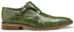 "Belvedere ""Oscar"" Pistachio Genuine All-Over Alligator With Double Monk Strap Loafer Shoes B02."
