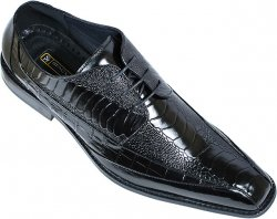 "Stacy Adams ""Palatino"" Black Alligator / Ostrich Print Shoes 24679"
