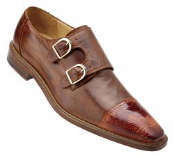 "Belvedere ""Amico"" Brandy Genuine Ostrich / Antique Brown Italian Calf Double Monk Strap Shoes 1618."