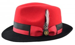 Bruno Capelo Red / Black Australian Wool Fedora Dress Hat CA-345