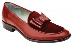"Belvedere ""Cruz"" Red Genuine Ostrich / Patent Leather / Velvet Slip-On Shoes 3942."