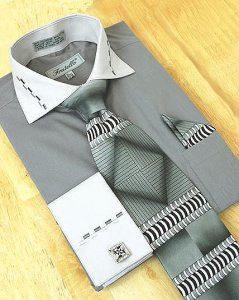 Fratello Charcoal Grey/Silver Grey Shirt/Tie/Hanky Set DS3721P2
