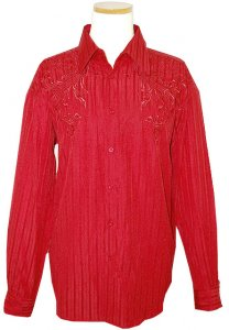 Pronti Red With Shadow Stripes & Embroiderey Cotton Blend Long Sleeves Shirt S1551