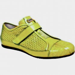 "Mauri Ladies ""Sunny Side"" 8794 Neon Yellow Genuine Baby Crocodile / Perforated Nappa Leather Sneakers"