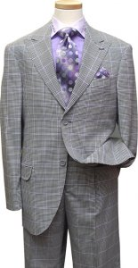 Azione by Zanetti Black / White Houndstooth With Violet Windowpanes Super 120's Wool Suit LE40195