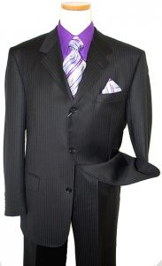 Giorgio Sanetti Black Shadow Stripes Super 150's 100% Wool Suit 238016