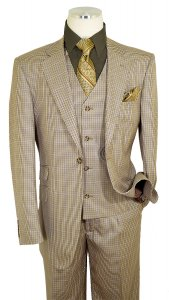 Luciano Carreli Beige / Olive Combo Plaid Super 150's Wool Classic Fit Vested Suit 6298-7208