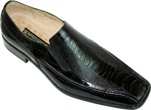 "Stacy Adams ""Teague"" Black Alligator / Ostrich Print Loafers"