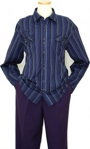 Manzini Midnight Blue With Black / Grey / Violet Stripes 100% Cotton Casual Long Sleeves Shirt