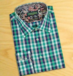 Inserch Green / White / Navy Blue Checkerboard Design 100% Jacquard Cotton Casual Dress Shirt 2592