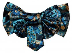 Vittorio Vico Navy Blue / Turquoise / Beige Paisley Double Layered Silk Bow Tie / Hanky Set XL94