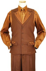 Steve Harvey Chestnut Double Lapel 2 Pc Vested Outfit # 1013V