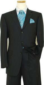 Mantoni Black With Turquoise Pinstripes Super 140's 100% Virgin Wool Suit 71110