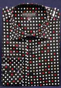 Daniel Ellissa Black / Red Dotted Fancy 100% Cotton Shirt With Button Cuff FC7007
