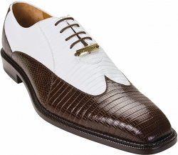 "Belvedere ""Genova"" Brown / White All-Over Genuine Lizard Wing-Tip Shoes"
