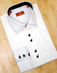 Steven Land White With Black Hand Pick Stitch And Spread Collar 100% Cotton Shirt