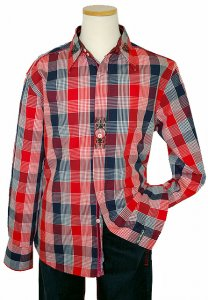 English Laundry Red/Navy/White Checker Board Design With Embroidery Long Sleeves 100% Cotton Shirt ELW1043