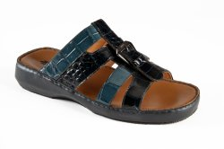 Mauri 5048 Navy Blue / Caribbean Blue Genuine Alligator Platform Sandals.