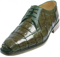 "Belvedere ""Susa"" Olive All-Over Genuine Hornback Crocodile Shoes With Quill Ostrich Trim"