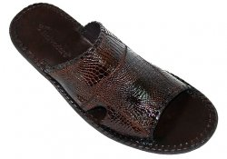 "Belvedere ""Palma"" Brown Genuine Alligator Patchwork Sandals"