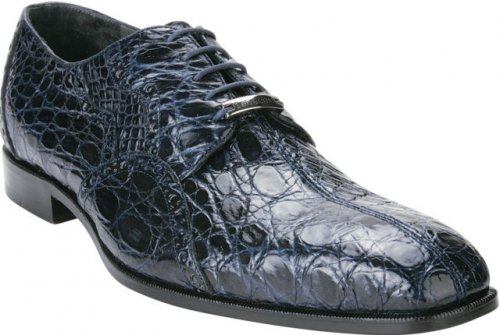 "Belvedere ""Stella"" Navy Blue All-Over Genuine Crocodile Flanks Shoes 1409"
