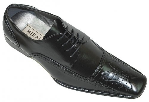 Miralto Black Embroidered Leather Shoes EM93
