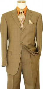 Mantoni Taupe With Dark Taupe / Rust Windowpanes Super 140's 100% Virgin Wool Suit 71115