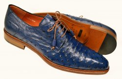 Mezlan Jean Blue All-Over Genuine Ostrich Quill Derby Shoes 4531-S