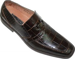 Fratelli Chocolate Brown Alligator / Lizard Print With Buckle Loafer Shoes 2283-02