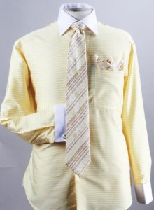 Avanti Uomo Corn Horizontal Stripe Two Tone Shirt / Tie / Hanky Set With Free Cufflinks DN55M