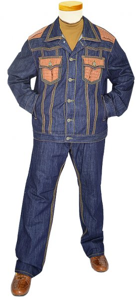 G-Gator Genuine Hornback Alligator Denim Jacket J33