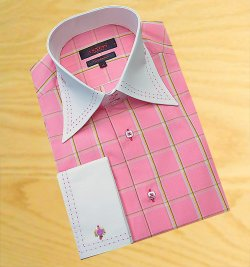 Axxess Rose With Gold / White / Black Windowpane With Rose Double Handpick Stitching 100% Cotton Dress Shirt 08-17